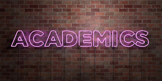 ACADEMICS - fluorescent Neon tube Sign on brickwork - Front view - 3D rendered royalty free stock picture Royalty Free Stock Photography