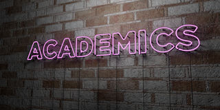 ACADEMICS - Glowing Neon Sign on stonework wall - 3D rendered royalty free stock illustration Royalty Free Stock Images