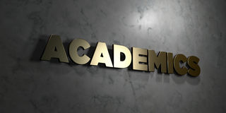 Academics - Gold text on black background - 3D rendered royalty free stock picture Stock Images