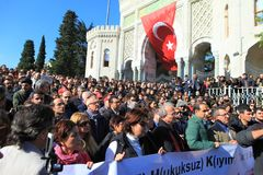 Academics Protest in Turkey. ISTANBUL,TURKEY-NOVEMBER 3 : Turkish academics, students protest against post-coup purges in Beyazit Square in Istanbul on November Stock Photography