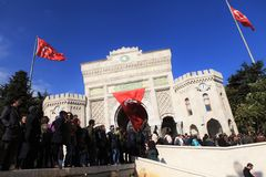 Academics Protest in Turkey. ISTANBUL,TURKEY-NOVEMBER 3 : Turkish academics, students protest against post-coup purges in Beyazit Square in Istanbul on November Royalty Free Stock Photography