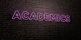 ACADEMICS -Realistic Neon Sign on Brick Wall background - 3D rendered royalty free stock image Royalty Free Stock Image