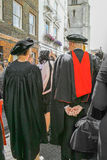 Academics. Students (with staff) from St John's College, Cambridge  University, England, process to Senate House for their degree awarding ceremony on 25 june Stock Photography
