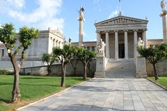 Academie van kunst, Nationale Bibliotheek, Bank van Griekenland, Athene, Greec Stock Afbeeldingen