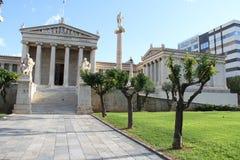 Academie van kunst, Nationale Bibliotheek, Bank van Griekenland, Athene, Greec Royalty-vrije Stock Foto