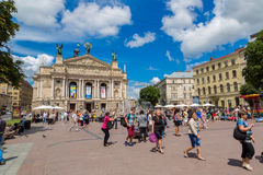 Academisch Opera en Ballettheater in Lviv, de Oekraïne Royalty-vrije Stock Fotografie