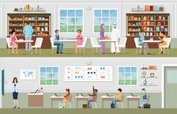 Academische studenten bij de bibliotheek en de leraar met leerlingen in vector illustratie