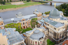 Academy of Art in Dresden and Elbe river Royalty Free Stock Photo