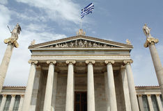 Academy of Athens. With ionic columns and statues of Athena and Apollo stock photo