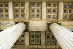 Academy of Athens. Detail of ceiling and ionic columns in Academy of Athens, Greece royalty free stock photo