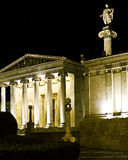 The Academy of Athens, with the Apollo statue Royalty Free Stock Photography