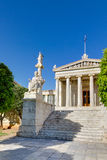 Academy of Athens, Greece. View of the Academy of Athens with statues of Plato and goddess Athena, Greece Royalty Free Stock Photos