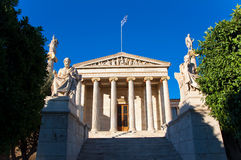 Academy of Athens with Plato and Socrates monument. Stock Image