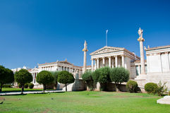 Academy of Athens with Plato and Socrates monument. Royalty Free Stock Photography