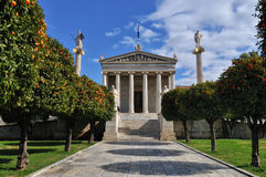 Academy of Athens with Plato and Socrates monument. . Stock Photos
