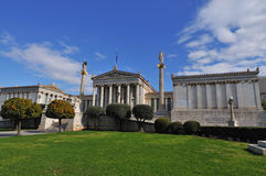 Academy of Athens with Plato and Socrates monument. . Royalty Free Stock Photography