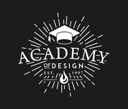 Academy of Design white on black. Is a illustration about studying and learning stock illustration