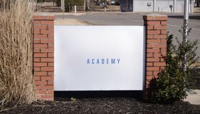 Academy Education School. An academy is a private, state approved, non-profit school for student in grade school, elementary or kindergarten Royalty Free Stock Image