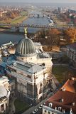 The Academy of Fine Arts. Glass cupola with gold angel - Dresden - Germany stock image