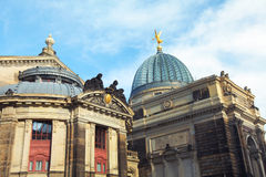 Academy of Fine Arts. And Frauenkirche - Dresden, Germany Stock Image