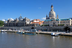 Academy of Fine Arts and Frauenkirche in Dresden. Embankment of the Elbe river, Academy of Fine Arts and Frauenkirche in Dresden, Germany Stock Photo