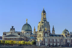 Academy of Fine Arts and Frauenkirche, Dresden Stock Photo