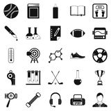 Academy icons set, simple style Royalty Free Stock Images