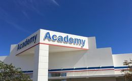 Academy Sporting Goods Store Storefront Sign stock photos