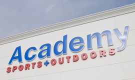 Academy Sports and Outdoors Sign. Academy sports and Outdoors sells sporting goods, hunting, fishing, camping equipment, recreational, leisure products, footwear Royalty Free Stock Photos