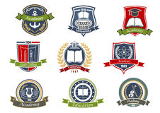 Academy, university and college heraldic emblems. Music, architecture and sciences, visual arts and literature, maritime and theater symbols for academy Stock Photos