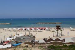 Acadia Beach in Herzliya, Israel. HERZLIYA, ISRAEL - APRIL 28, 2017: Acadia Beach in Herzliya, Israel. Acadia Beach is the widest beachfront in the city of Stock Photography