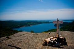 Acadia-Gebirgsgipfel-Markierung Stockbild