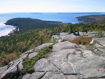 Acadia Hikers and Ocean View Royalty Free Stock Photography