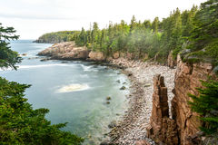 Acadia National Park Coast. Rocky coast of Monument Cove in Acadia National Park Maine in the summer Royalty Free Stock Images