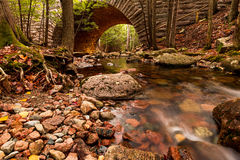 Acadia National Park. Hunters Brook and bridge in Acadia National Park in the fall season Stock Images