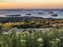 Acadia National Park, mountain view of Bar Harbor. Wonderful color when the sunset coming to the bar harbor. Can& x27;t miss this amazing thing royalty free stock photo