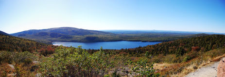 Acadia National Park panorama. Bubble Pond of Acadia National Park panorama, Cadillac Summit, Maine, USA Stock Photos
