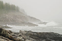 Acadia National Park rocky coast. View of Rocky coast  and Atlantic Ocean on Great Head Trail  on foggy autumn dayl in Acadia National park on Bar Harbor, Maine Stock Photography