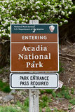 Acadia National Park Sign Stock Photography
