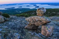Acadia National Park sunset. Acadia National Park mountain view of the bar harbor with the trail mark . Beautiful sunset stock photography