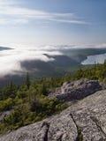 Acadia-Nationalparküberblick von einem Gipfel Stockfotografie