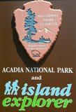 Acadia-Nationalpark unterzeichnen herein Maine Stockbild