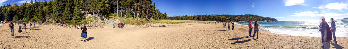 ACADIA NP, MAINE - OKTOBER 2015: Turistbesöknationalpark A Royaltyfri Fotografi