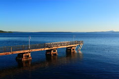 Acadia Pier Ocean Morning Stockbild