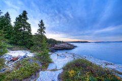 Acadia. The rocky coastline of Maine shows off in Acadia National Park, in the New England area of the USA Stock Photos