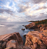 Acadia Seacoast Morning. Early Morning Light Warms The Rugged Acadia Seacoast, Acadia National Park, Maine, USA Royalty Free Stock Image