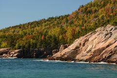 Acadia Shoreline. A rocky section of the coastline in Acadia National Park in autumn Royalty Free Stock Photography
