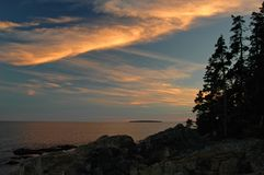 Acadia Sunset. The rocky coastline of Acadia National Park sunset Royalty Free Stock Photos