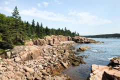 Acadian coast. Summer rocky coast in Acadia in Maine Royalty Free Stock Photo