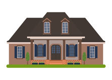 Acadian house vector. Modern country house in Acadian style. Vector illustration of a tourist house for rent, sale, booking and living, isolated on white Stock Image